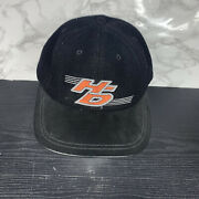 Vintage Harley Davidson Black Mens Osfa Made In Usa Wool And Leather Hat
