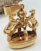 Knight And Horses Figures Pendant With Oval Citrine Faceted 14kt Yellow Gold