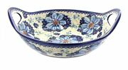 Blue Rose Polish Pottery Daisy Surprise Deep Bowl With Handles