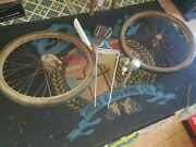 Vintage 50and039s 60and039s Schwinn Corvette Parts Rims W Tires Muffler And Pedals As Is