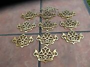 Set Of 10 Brass Plated Chippendale Style Drawer Handles By Keeler Brass Co