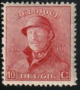 Belgium Stamp Issued 1919 A55 137 King Albert In Trench Helmet 10 F Mh 0349