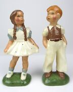 Signed Jessie Grimes California Boy And Girl Art Pottery