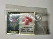 Vintage Olympic Pin Atlanta 1996 American Red Cross Blood Donor Button Flare