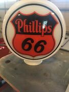 Phillips 66 Gas Pump Milk Glass Globe One Piece Body With 2 Lenses