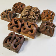 Set Of 8 Antique Hand Carved Wood Samples Of Celtic Knots Decorative Salvage