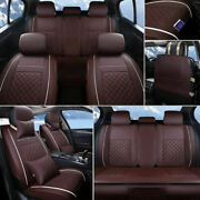 Five-sit Car Seat Cover Pu Leather Auto Front And Rear Sit W/neck Lumbar Pillow Us