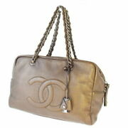Chain Shoulder Bag Coco Mark Bronze Razor Padlock With K _3237