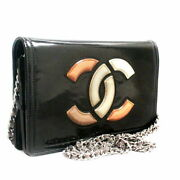 Enamel Coco Mark Chain Wallet Shoulder Bag Women And039s Blac _1794