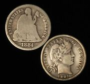 1884 And 1901 10c Dime Type Pair - Seated Liberty And Barber - Free Shipping Usa