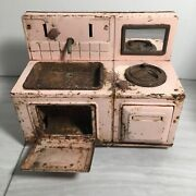 Vintage Pink Tin Toy Holiday Sink Stove Combination