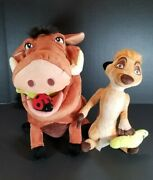 Rare Disney Store Authentic Stamped Lion King Timon And Pumbaa Plush And Bugs