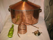 Awesome Antique Copper Whiskey Moonshine Still W/ Coil And Corked Wine Bottle