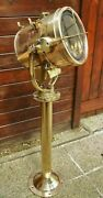 Authentic Old Antique Marine Ship Brass Nautical Signal Spot Light With Stand