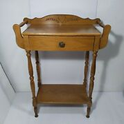 Vintage Antique 1-drawer Wood Wash Stand Towel Bars Table Victorian Dry Sink