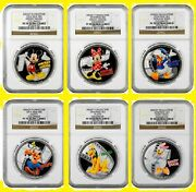 2014 Disney Characters 6 Silver Coins Complete Set All Ngc Pf 70 Uc