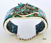 Variety Turquoise Chips Abalone Onyx Inlay 925 Silver Cuff Horse Bracelet 7-1/4