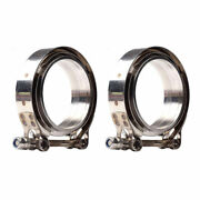 2pcs 3 Inch V-band Flangeandclamp Kit For Turbo Exhaust Downpipes Stainless Steel