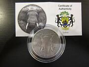 2012 Elephant Gabon 3 Oz Africa 3 Silver Ounces Series Antique Finish