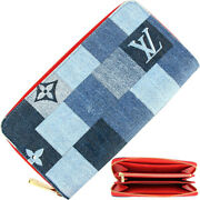 Louis Vuitton Zippy Wallet Denim Patchwork Large Zip Around Blue R _42489