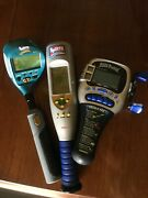 Vintage 90andrsquos Electronic Handheld Fishing-baseball-golf Games Tested Works Clean