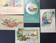 Lot Of 10 Vintage Postcards Used And Unused. Christmas, New Years And Thanksgiving