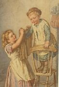 A Fine 19th Watercolour Genre Painting By Agnes Nicholl 1842-1892 Dated 1877