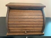 Vintage Wooden Bread Box With Roll-top Great Condition 17 1/2 Long 12 High