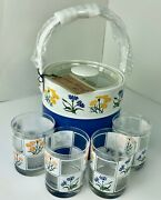 George Briard 1970and039s Floral Drinking Glasses With Matching Ice Bucket