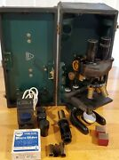 Early Bausch And Lomb Binocular Microscope Pat 1915_1925. With Case + Extras