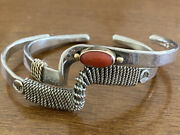 Sterling Silver 14 Kt Gold Bracelets Re Cuffs Heavy Quality Coral 47.7g 21-13