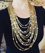 Vintage Christian Dior 1973 12-strand Gold Chain And Crystal Runway Necklace