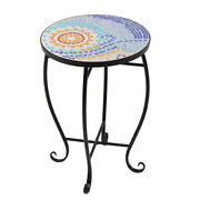 Mosaic Stained Glass Flower Stand 3patterns Garden Patio Decro Table Plant Shelf