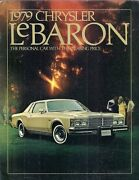 Chrysler Lebaron 1979 Usa Market Sales Brochure 2-dr 4-dr Town And Country