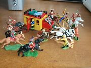 Britains And Timpo Cowboys And Indians With Stage Coach 1/32 Scale Toy Soldiers