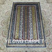 Yilong 2.5and039x4and039 Striped Handknotted Silk Carpet Oriental Indoor Area Rug H186b