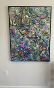 Abstract Xlarge One-of-a-kind Modern Original Fantasy Oil Canvas Bright Flowers