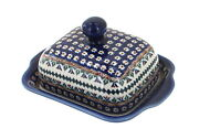 Blue Rose Polish Pottery Daisy Sqaure Butter Dish