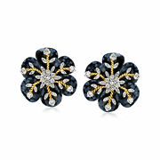 Vintage Diamond And Carved Black Obsidian Snowflake Earrings With 14kt Gold