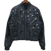 Louis Vuitton Embroidered Bomber Jacket Decorative Zip Blouson _44509