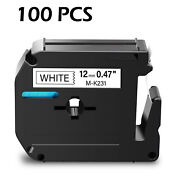 100pk M231 M-k231 Mk231 Black On White 12mm Label For Brother P-touch Pt-65