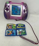 Leapster L-max Learning Game System Pink Purple W/4 Games Nemo Dora Wall-e Works