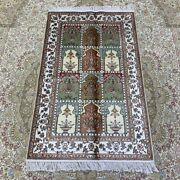 Yilong 2.5and039x4and039 Handwoven Silk Carpet Four Seasons Floral Home Decor Rug 358ab
