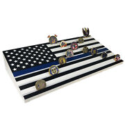 22 Challenge Coin Display Ramp A Thin Blue Line Us Flag Featured Holder Stand
