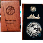 2007 South Africa Polar Year Proof Set Silver 2 Rand 2.5 Cent Set Ship Model R2