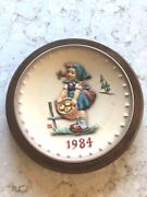 1984 Annual Plate Little Helper  With Wood Frame By Hummel, Goebel Collector