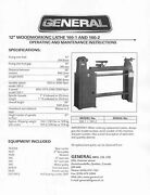 General 12 Inch Wood Lathe Model 160-1 And 160-2 Oper And Maint. Inst. Manual Gm27