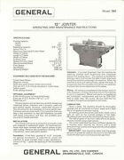 General Jointer Model 780 12 In Operating And Maint. Instructions Manual Gm37