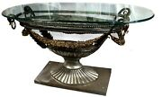 Empire Style Marble Glass Embossed Steel And Brass Oval Console Table