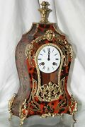 Mantle And Wall-- Clock-inlay Bronze Ornaments-stale Louis Xv Boulle With Console